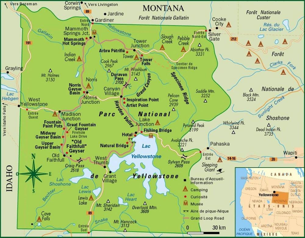 Иллюстрация на тему Национальный парк Йеллоустоун в США - Yellowstone National Park