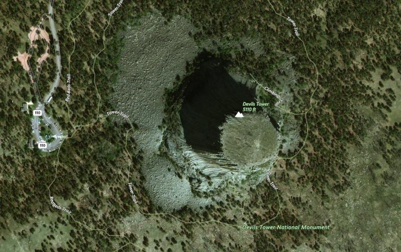 Башня Дьявола - вид со спутника